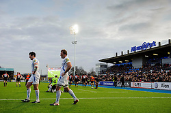 Exeter players look demoralised after another Saracens try during the second half of the match - Photo mandatory by-line: Rogan Thomson/JMP - Tel: Mobile: 07966 386802 16/02/2013 - SPORT - RUGBY - Allianz Park - Barnet. Saracens v Exeter Chiefs - Aviva Premiership. This is the first Premiership match at Saracens new home ground, Allianz Park, and the first time Premiership Rugby has been played on an artificial turf pitch.