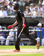 CHICAGO - AUGUST 25:  Eloy Jimenez #74 of the Chicago White Sox bats against the Texas Rangers during Players Weekend on August  25, 2019 at Guaranteed Rate Field in Chicago, Illinois.  (Photo by Ron Vesely)  Subject:   Eloy Jimenez