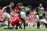 Adam Jones of Wales tries to stop South Africa's Jaque Fourie (13). Wales v South Africa,    at Millennium Stadium in Cardiff on Sat 5th June 2010. pic by Andrew Orchard,  Andrew Orchard sports photography,