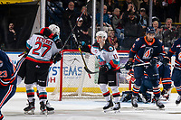 KELOWNA, BC - JANUARY 11: Pavel Novak #11 and Jonas Peterek #27 of the Kelowna Rockets celebrate a first period goal against the Kamloops Blazers at Prospera Place on January 11, 2020 in Kelowna, Canada. This is Peterek's first goal as a Kelowna Rocket. (Photo by Marissa Baecker/Shoot the Breeze)
