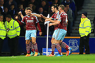 West Ham's Mauro Zarate celebrates his equalising goal - Everton vs. West Ham United - Barclay's Premier League - Goodison Park - Liverpool - 22/11/2014 Pic Philip Oldham/Sportimage