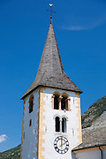 Tower and steeple of Stalden Church, St Michaelspfarrei in the Chablais region of Switzerland