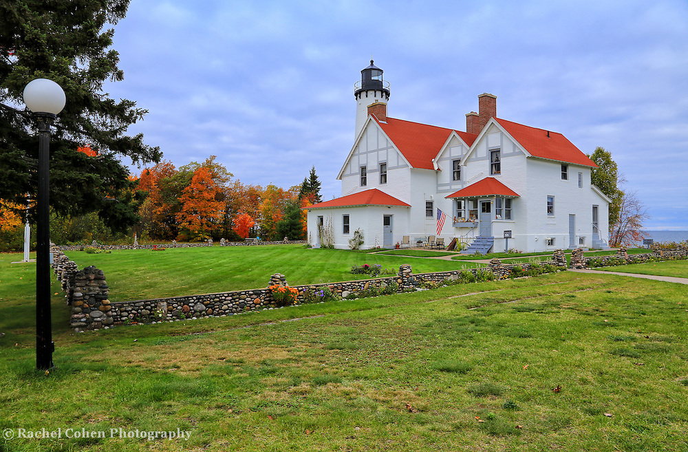 """""""One if by Land""""<br /> <br /> A beautiful autumn vision of the historic Point Iroquois Light Station!!<br /> <br /> Lighthouses of the Great Lakes by Rachel Cohen"""