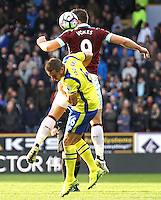 Burnley's Sam Vokes vies for possession with Everton's Phil Jagielka<br /> <br /> Photographer Rich Linley/CameraSport<br /> <br /> The Premier League - Burnley v Everton - Saturday 22nd October 2016 - Turf Moor - Burnley <br /> <br /> World Copyright © 2016 CameraSport. All rights reserved. 43 Linden Ave. Countesthorpe. Leicester. England. LE8 5PG - Tel: +44 (0) 116 277 4147 - admin@camerasport.com - www.camerasport.com