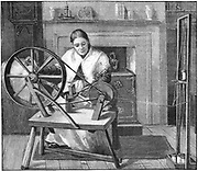 Spitalfields silk worker winding silk in her cottage, London, England, late 19th century. This enclave of the silk industry was founded by Huguenot refugees from France after Louis XIV's Revocation of the Edict of Nantes (1685). Engraving, 1893