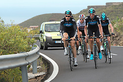 F.A.O Lisa McCLean Daily Telegraph picture desk. ©Ben Cawthra. 19/05/2012. Tenerife, Spain. Three time Olympic gold medalist, cyclist Bradley Wiggins (centre of group white top) with the Sky Pro Cycling team training on the roads surrounding the volcanic island of Tenerife in Spain with coaching team following behind. Photo credit: Ben Cawthra