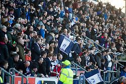 Main stand fans. Falkirk 3 v 2 Hibernian, Scottish Premiership play-off final, played 13/5/2016 at The Falkirk Stadium.