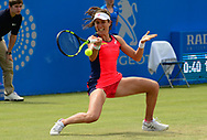 Johanna Konta (GBR) in action during her match against Tara Moore (GBR). The Aegon Open Nottingham 2017, international tennis tournament at the Nottingham tennis centre in Nottingham, Notts , day 2 on Tuesday 13th June 2017.<br /> pic by Bradley Collyer, Andrew Orchard sports photography.