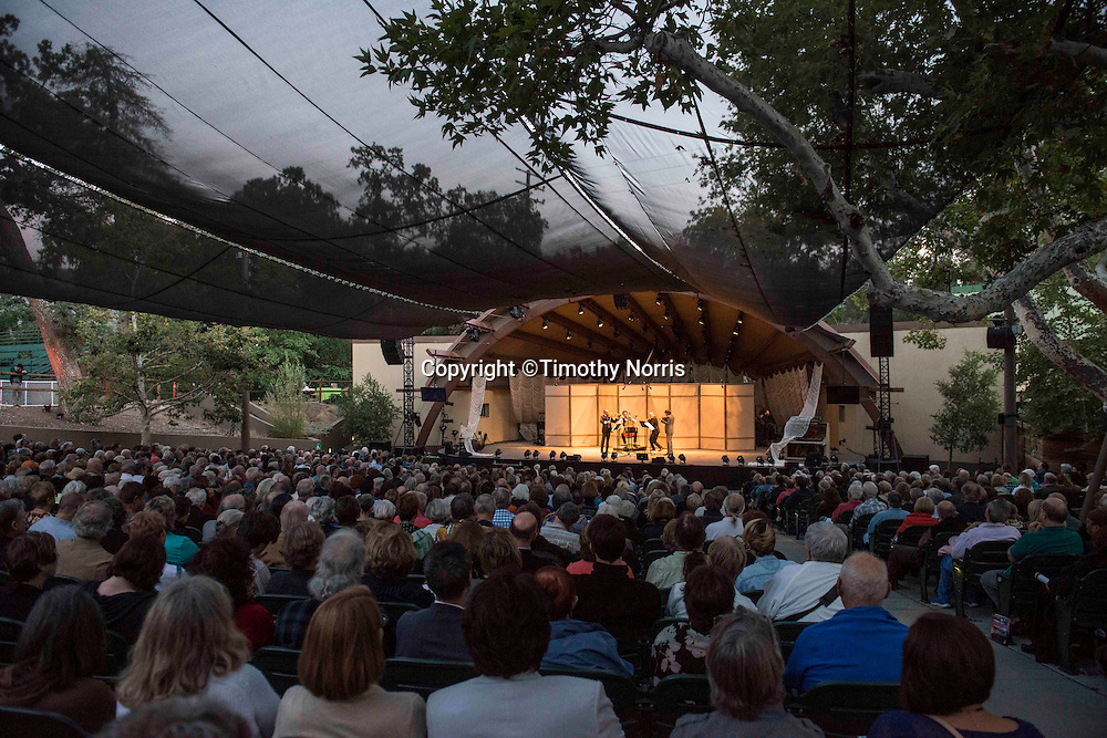 """Brooklyn Rider performs Haydn's String Quartet in G Minor, Op.74, No. 3, """"Rider"""" at the 68th Ojai Music Festival at Libbey Bowl on June 13, 2014 in Ojai, California."""