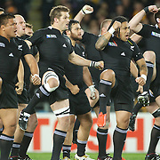 New Zealand players perform the Haka before kick off, left to right are, Keven Mealamu, Richie McCaw, Ma'a Nonu and Kieran Read before the New Zealand V Australia Semi Final match at the IRB Rugby World Cup tournament, Eden Park, Auckland, New Zealand, 16th October 2011. Photo Tim Clayton...