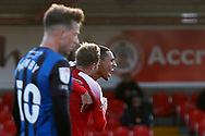 2-1, GOAL celebration by Jon Russell of Accrington Stanley   during the EFL Sky Bet League 1 match between Accrington Stanley and Rochdale at the Fraser Eagle Stadium, Accrington, England on 10 October 2020.