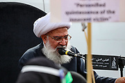 A Zakir (religious scholar) delivers the narration of the tragedy of Karbala in Marble Arch, central London on Sunday, Aug 30, 2020. (VXP Photo/ Vudi Xhymshiti)