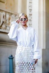 Street style, Caroline Daur arriving at Paco Rabanne spring summer 2019 ready-to-wear show, held at Grand Palais, in Paris, France, on September 27th, 2018. Photo by Marie-Paola Bertrand-Hillion/ABACAPRESS.COM