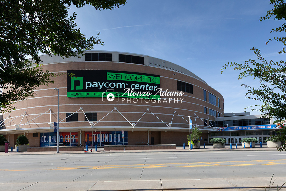 Oklahoma City Thunder and Paycom have partnered to rename the former Chesapeake Arena to Paycom Center effective immediatly. Additional signage both indoors and outdoors is to come before the start of the 2021-22 NBA Basketball season. Photo copyright © 2021 Alonzo J. Adams.