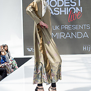 Ria Miranda showcases it latest collection at the Modest and Beautiful a Modest Fashion Live at The Atrium in Westfield London on June 24, 2018.