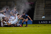 Exeter Chiefs scrum-half Jack Maunder passes out from the scrum during a Gallagher Premiership Round 11 Rugby Union match, Friday, Feb 26, 2021, in Eccles, United Kingdom. (Steve Flynn/Image of Sport)