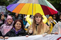 © Licensed to London News Pictures . 29/09/2019. Manchester, UK. ANGELA RAYNOR MP . Thousands attend a march for the People's Assembly . Demonstrations for and against Brexit , austerity measures , the environment and numerous social issues take place across Manchester during the first day of the Conservative Party Conference taking place at the Manchester Central Exhibition Centre . Photo credit: Joel Goodman/LNP