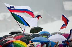 Slovenian flags during the Second Round at Day 2 of World Cup Ski Jumping Ladies Ljubno 2016, on February 14, 2016 in Ljubno, Slovenia. Photo by Vid Ponikvar / Sportida
