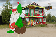 The exterior view of a Christmas themed shop in North Pole, Alaska.