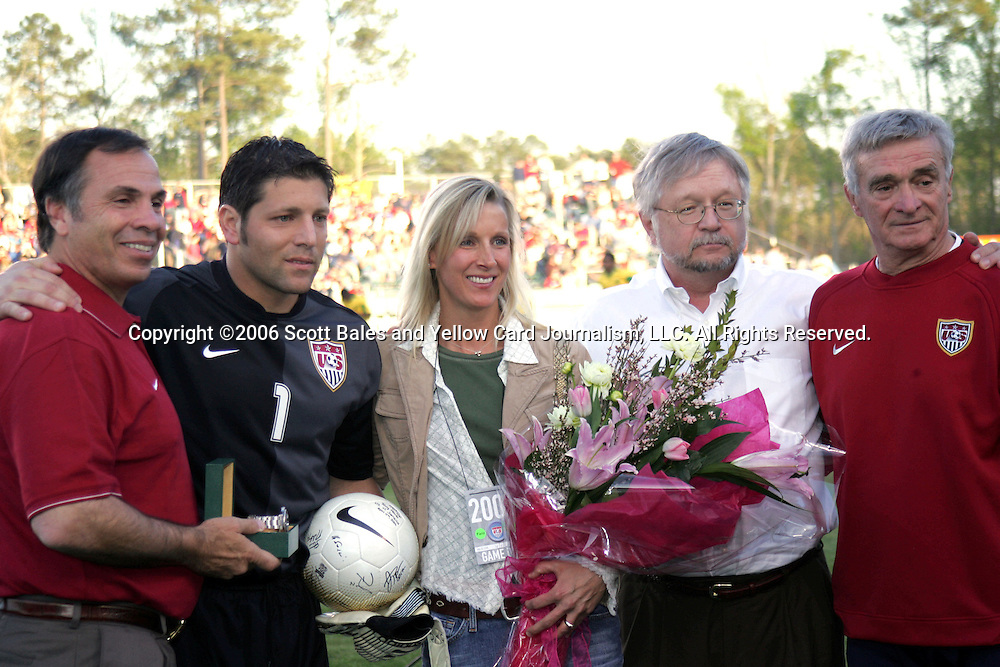 11 April 2006: Pregame ceremony to mark the occasion of Tony Meola's 100th cap. Left to right, US head coach Bruce Arena, US goalkeeper Tony Meola, his wife Colleen, US Soccer Executive Vice President Mike Edwards, and US goalkeeper coach Milutin Soskic. The United States National Team tied the National Team of Jamaica 1-1 at SAS Stadium in Cary, North Carolina in an International Friendly soccer match.