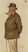 Thomas William Coke, 2nd Earl of Leicester (1822-1909) English landowner, agriculturist and countryman.  Inherited Holkham Hall, Norfolk, England, at the age of 20 and carried out a programme of improvements on the estate.   Cartoon by 'Spy' (Leslie Ward, 1851-1922) from 'Vanity Fair' (London, 4 August 1883).  Chromolithograph.