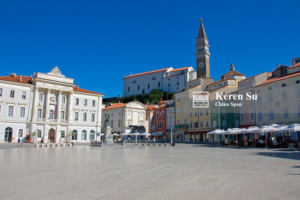 St George Church tower in Tartini Square in Piran, Slovenia