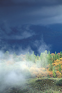 Sunlight and Mist rising under dark clouds after a storm Stanislaus National Forest, Tuolumne County, California