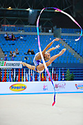 Nazarenkova Elizaveta of Uzbekistan competes durin Individual qulification of ribbon in the World Cup at Adriatic Arena on April 11, 2015 in Pesaro, Italy. Elizaveta is an individual rhythmic gymnast of Russian origin born in Murmansk in 1995.