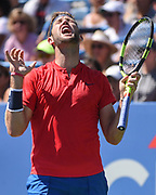 JACK SOCK reacts poorly to a close call during his semifinal match at the Citi Open at the Rock Creek Park Tennis Center in Washington, D.C.