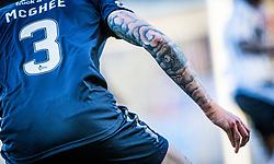 Falkirk's Jordan McGhee's tattooed arm. Falkirk 1 v 1 Dunfermline, Scottish Championship game played 4/5/2017 at The Falkirk Stadium.