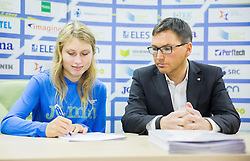 Marusa Mismas and Roman Dobnikar during press conference when Slovenian athletes and their coaches sign contracts with Athletic federation of Slovenia for year 2016, on February 25, 2016 in AZS, Ljubljana, Slovenia. Photo by Vid Ponikvar / Sportida