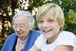 Grandmother and his smiling grandson, close-up