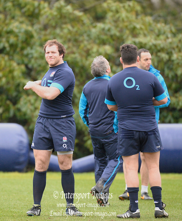 Pennyhill Park. Great Britain,   left facing, Henry THOMAS, during the England squad training at Pennyhill Park in preparation for the opening game of the 2014 Six Nations Championship France vs England.  Thursday  23/01/2014  [Mandatory Credit. Peter Spurrier/Intersport Images]
