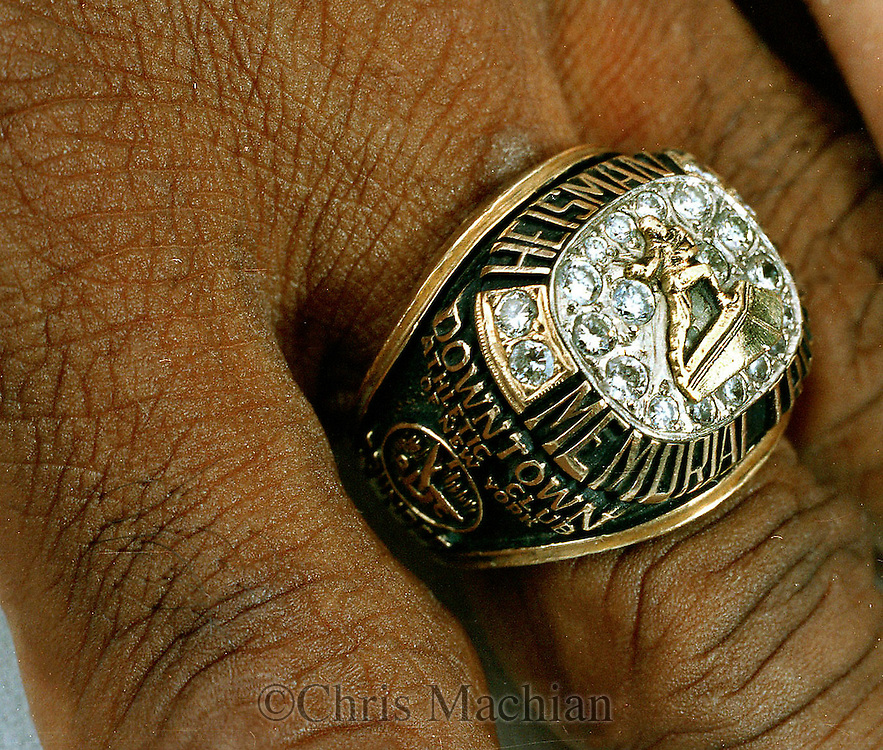 June 1999 Omaha, NE .left-heisman ring of Johnny Rodgers 1972 winner..Rodgers recently had his ring stolen November 15th at a grocery store in Omaha..(photo by Chris Machian/Prarie Pixel Group)