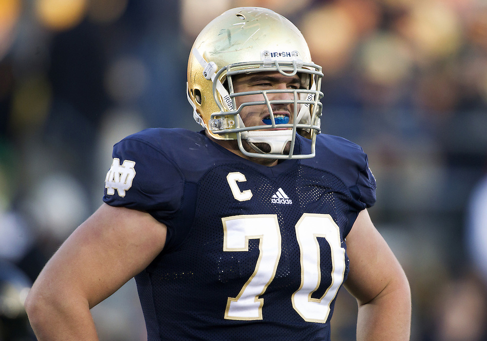 November 17, 2012:  Notre Dame offensive tackle Zack Martin (70) during NCAA Football game action between the Notre Dame Fighting Irish and the Wake Forest Demon Deacons at Notre Dame Stadium in South Bend, Indiana.  Notre Dame defeated Wake Forest 38-0.