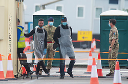 ©Licensed to London News Pictures 27/04/2020  <br /> Dartford, UK. A new Coronavirus testing site for key workers has opened in Ebbsfleet, Kent. Staff on site are in PPE and ready to start testing today. The site is an appointment only service and is being run as a pilot scheme for the first few days. <br /> Photo credit:Grant Falvey/LNP