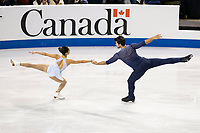 KELOWNA, BC - OCTOBER 26:  Jessica Calalang and Brian Johnson. of the United States compete in pairs free skate during Skate Canada International at Prospera Place on October 25, 2019 in Kelowna, Canada. (Photo by Marissa Baecker/Shoot the Breeze)