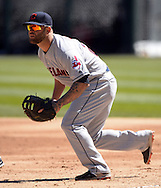 CHICAGO - APRIL 09:  Mike Napoli #26 of the Cleveland Indians fields against the Chicago White Sox on April 9, 2016 at U.S. Cellular Field in Chicago, Illinois.  The White Sox defeated the Indians 7-3.  (Photo by Ron Vesely)  Subject: Mike Napoli