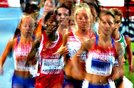 Runners compete during the women's 10,000m final at the 2010 European Athletics Championships at the Olympic Stadium in Barcelona on July 28, 2010