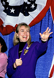"""Hillary Rodham Clinton, wife of Governor Bill Clinton (Democrat of Arkansas) attends a rally for her husband at Hesser Business College in Manchester, NH, USA on February 17, 1992. The Clintons were campaigning in advance of New Hampshire's """"First in the Nation"""" presidential primary. Photo by Ron Sachs/CNP/ABACAPRESS.COM"""