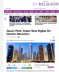 Huffington Post, Religion; Night skyline of Dubai