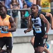 Warren Weir, (right), Jamaica, winning the adidas Men's 200m from Nickel Ashmeade, Jamaica, during the Diamond League Adidas Grand Prix at Icahn Stadium, Randall's Island, Manhattan, New York, USA. 14th June 2014. Photo Tim Clayton