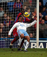 Photo: Javier Garcia/Back Page Images Mobile 07887 794393<br />03/01/2005 Crystal Palace v Aston Villa, FA Barclays Premiership, Selhurst Park<br />Darren Powell does his best to put off Nolberto Solano as he lines up an overhead effort