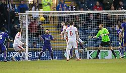 Raith Rovers Mark Stewart scoring their second goal. <br /> Raith Rovers 2 v 1 Hibernian, Scottish Championship game player at Stark's Park, 18/3/2016.