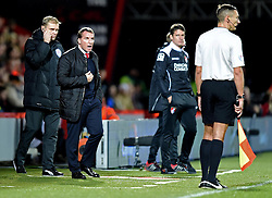 Liverpool Manager, Brendan Rodgers has words with an assistant referee - Photo mandatory by-line: Paul Knight/JMP - Mobile: 07966 386802 - 17/12/2014 - SPORT - Football - Bournemouth - Goldsands Stadium - AFC Bournemouth v Liverpool - Capital One Cup