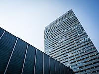 Donaucity, Austria Center Vienna (ACV), Mischek Tower, Österreich, Wien, Donaustadt. Kaisermühlen