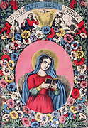 St Bridget (Brigitta, Brigitta, Birgite) 1302-1373. Daughter of Birger, Prince of Sweden. Wrote Revelations, translated into various laguages.  The Trinity of God the Father, Son and Holy Ghost appear above the saint.  19th century French coloured woodcut
