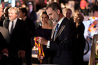King Felipe VI of Spain attends to photocall of 50th anniversary sport newspaper As in Madrid, Spain. December 04, 2017. (ALTERPHOTOS/Borja B.Hojas)