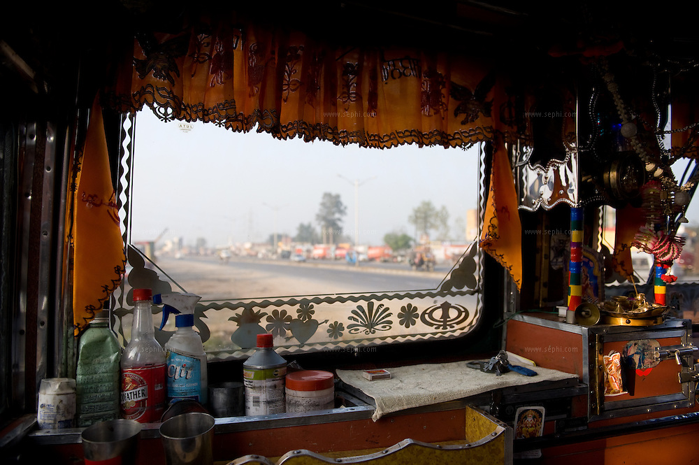 A view of truck interior with all the needs during the travel.
