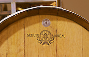 Oak barrel from Seguin Moreau Merpins France Bodega Del Anelo Winery, also called Finca Roja, Anelo Region, Neuquen, Patagonia, Argentina, South America